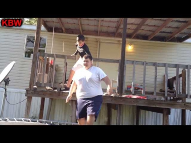 Trampoline Wrestling: KBW- D MAN vs. The BULL DOZER