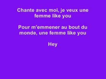 Une femme like you - K-maro (Letre) Lyrics on screen